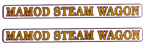 MAMOD STEAM WAGON DECALS /STICKERS  (TWO FULL LENGTH SELF ADHESIVE STICKERS)